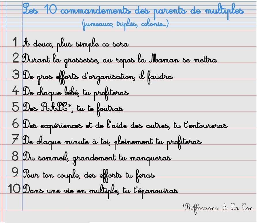 Les 10 commandements de parents de jumeaux tripl s ou plus simplement 2 - Les tables des 10 commandements ...