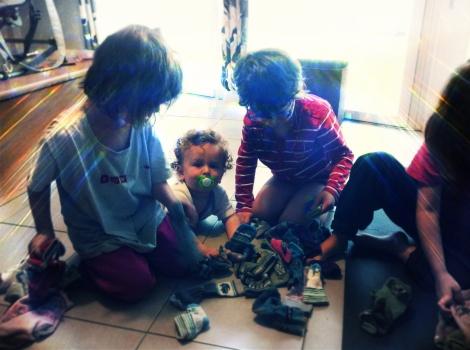 Tache ménagère en famille